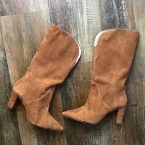 ZARA | Faux Suede Brown Pointed Toe Boots